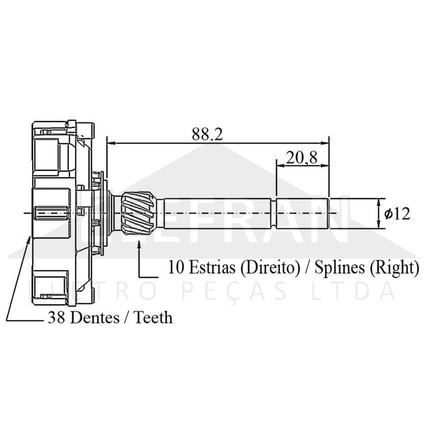 unifap uf11 099 engrenagem planetária 10 estrias 38 dentes bosch