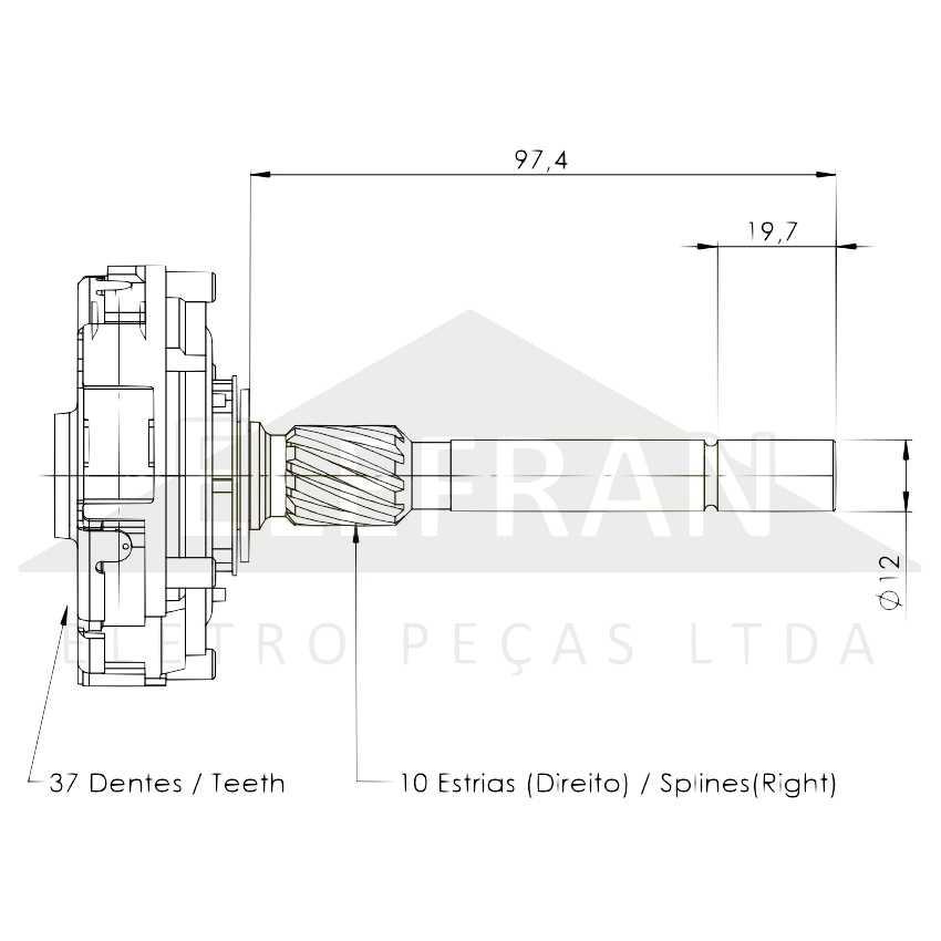 Unifap Uf11 039 Engrenagem Planetaria 10 Estrias 37 Dentes